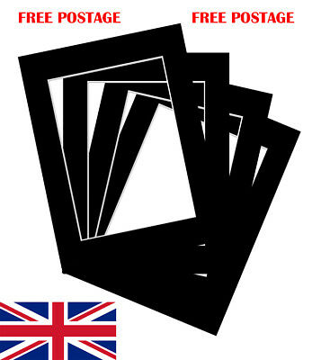 """Black Photo/ Picture Mount 10 Pack 4x4""""-32x44"""" 10x10cm-50x100cm fit all Sizes"""