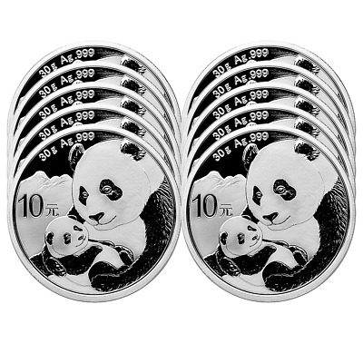 Lot of 10 - 2019 10 Yuan Silver Chinese Panda .999 30g BU In Cap