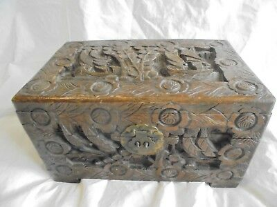Large antique/vintage Chinese carved wooden sailing boat camphore chest