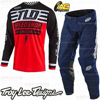 Troy Lee Designs 2019 GP Air Bolt Red Race Jersey Mono Navy Pants Combo Kit MX