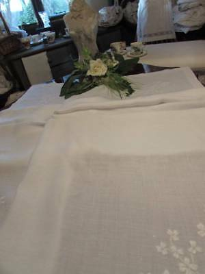 Beautiful 6' Snow White Vintage Embroiderd Linen Tablecloth