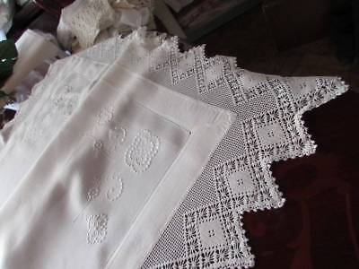 Beautiful Snow White Vintage Fillet Hand Lace Embroiderd Tablecloth