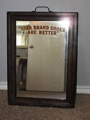 Vintage Antique 1920s Star Brand Shoes Are Better Mirror Advertising Sign