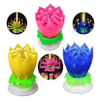 Birthday Candles Musical Candle Lotus Rotating Play Happy With Music