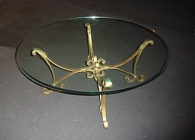 Vintage Spanish Style Gold Wrought Iron COFFEE TABLE Round Beveled Glass Top