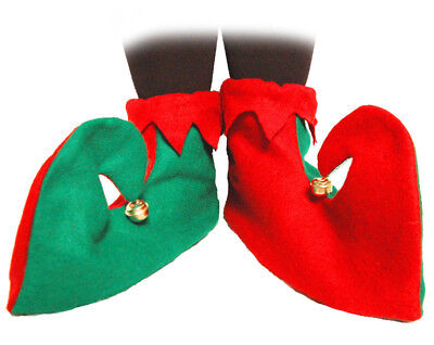 Elf Shoe Covers Red & Green Xmas Christmas Seasonal Festive Nativity Fancy Dress