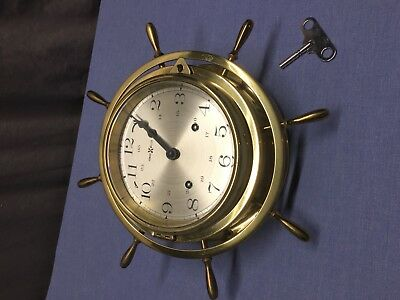 Ship Wheel Clock Howard Miller Marine Maritime Brass Clock Bells Work!!!!