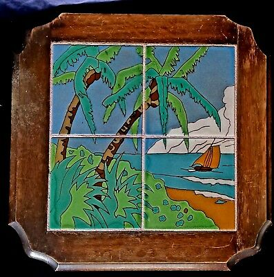 Taylor Tile Table w Sailboat & Palms Top Only