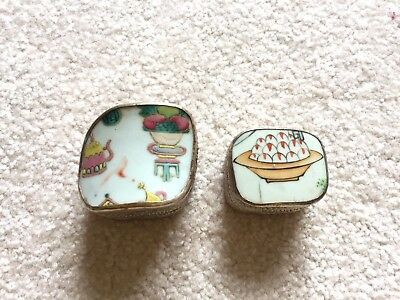 Pair of Chinese Porcelain and Silver Shard Boxes