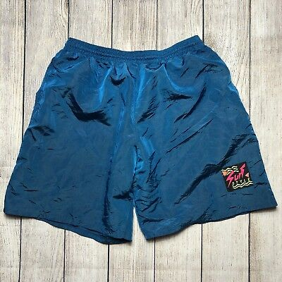 Vintage Surf Style Iridescent Blue Board Shorts