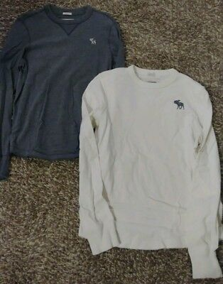 (Lot of 2) Abercrombie & Fitch Men's Large Long Sleeve Shirts Moose Logo Muscle