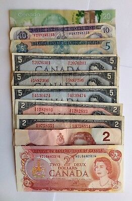 Collection Lot Canadian Money Various Dates and Bills $87.00 Face Value