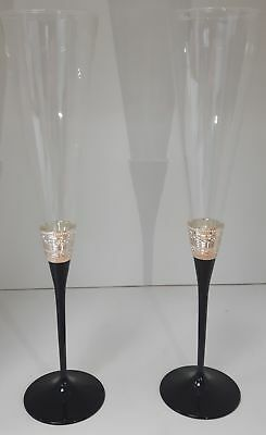 A Pair of Vera Wang Champagne Flutes by Wedgewood Black Crystal #857