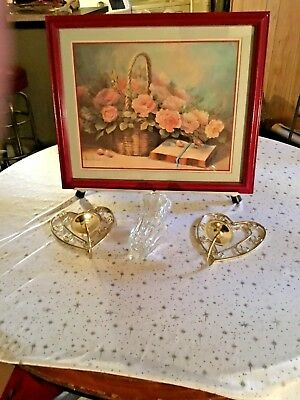 Home Interior By Margie Morrow/ basket w pink rose open Bible/2 HEART SCONCES