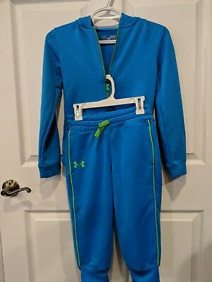 Childrens Blue Under Armour Zip Up Hooded Sweat Suit, Youth small, Loose fit