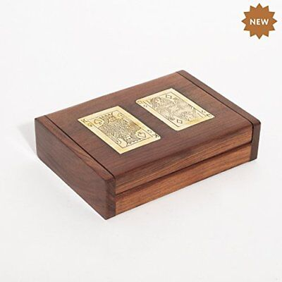 Rusticity Wooden Vintage Storage Box for Playing Cards/Deck Holder - Double Card