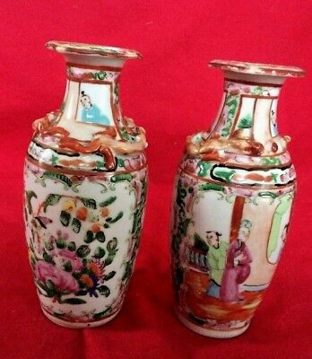 Pair of Antique Chinese Famille Rose medallion Porcelain vase