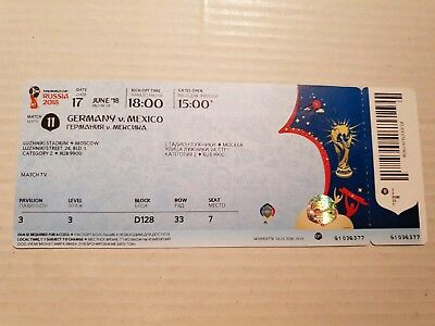 Used Ticket FIFA World Cup 18 #11 Germany Mexico Deutschland Mexiko DFB