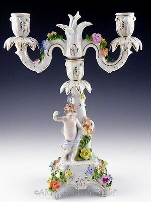Antique Dresden Carl Thieme HANDPAINTED CANDLE HOLDER CANDELABRAS CUPID CHERUB