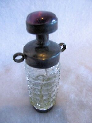 Sterling Silver Hanging Snuff Bottle with Spoon, Rare with Loops for Neck Cord