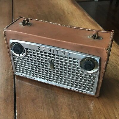 Vintage Zenith Royal 675 Transistor Radio Portable Leather Parts or Repair Only