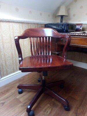 Antique Captains Swivel Magohany Chair (Antique desk available separately)