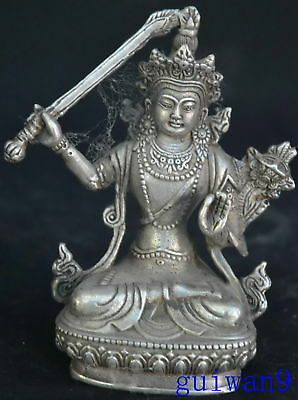 Collectable Chinese Style Tibet Silver Carve Hold Weapon Buddha Lotus Statue