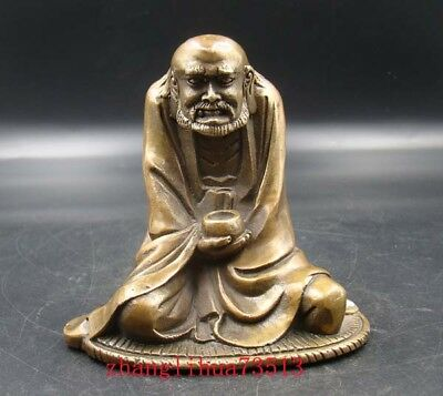 Collectible Handmade Carving Statue Bodhidharma Copper Brass