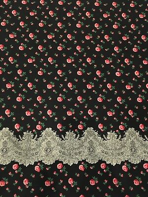 Vintage Border Fabric Pretty Roses 1 1/3 Yards
