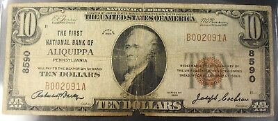 1929 $10 Ten Dollars National Currency Fist National Aliquippa Pennsylvania