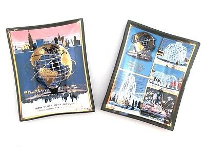 Set of 2 New York World's Fair 1964-65 NYC Smoked Glass Trays Houze Art Souvenir