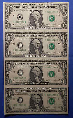 "Series 1981 A. Uncut Sheet of 4 $1 Federal Reserve Notes ""H-B Block"""
