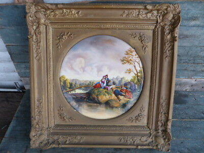 antique framed hand painted on porcelain kpm style italian romantic by the lake