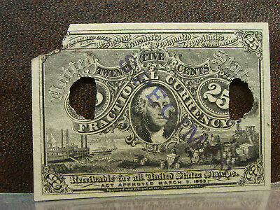 1863 2nd Second Issue 25 Cents Washington Fractional Currency app Unc SPECIMEN