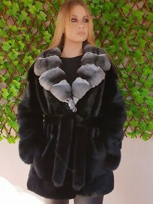Real New Mink Fur Coat Jacket Hood Black Mexa Nerzmantel Fox Sable Chinchilla