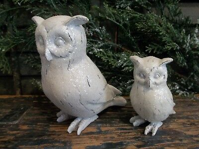 Pair of Small Sweet Snow Owls - Christmas/Winter/Year Round Decoration