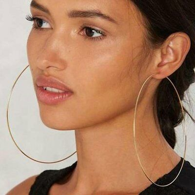 10CM Simple Fashionable Design Women Big Round Metal Ring Earrings Jewelry BF
