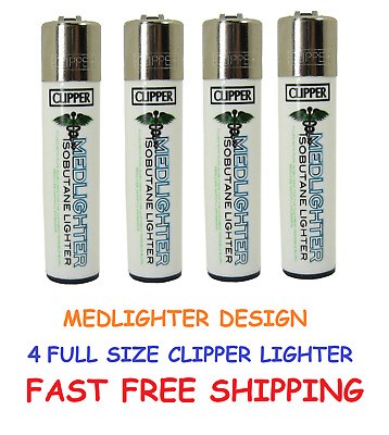 4 Full Size CLIPPER Refillable Lighters AUTHENTIC MEDLIGHTER CIGARETTE LIGHTER