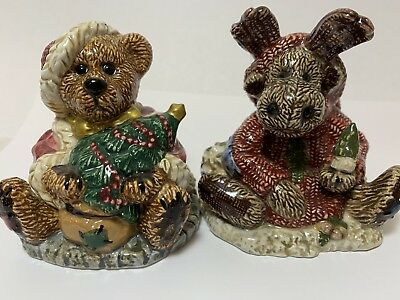 Boyds Bears Grenville & Manheim Salt & Pepper Shakers Christmas Moose And Bear