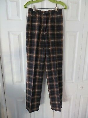 70's Vintage Young Pendleton Brown Red White Navy Green Plaid Mod Wool Pants 10