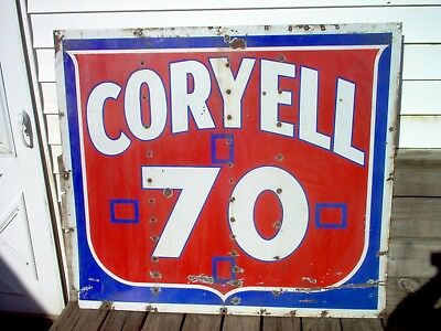Rare Original Vintage 2 Sided Porcelain Large Coryell 70 Oil Sign 4' x 3 1/2'