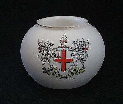 Vtg London Crest Robinson & Leadbeater Porcelain Candle Holder Domine Dirige Nos