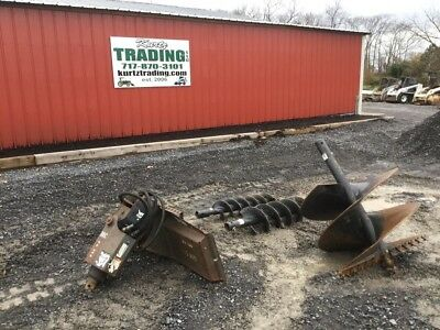 2008 Bobcat 30C Post Hole Digger Attachment w/ 3 Augers For Skid Steer Loaders
