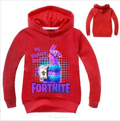 Fortnite Cartoon llama Kids Hoodie Boys Sweatshirt Hooded Clothing 2-11Years