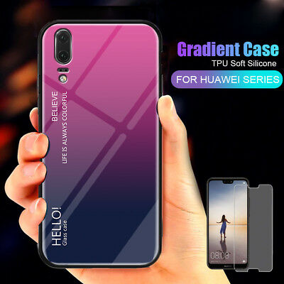 For Huawei P20 Pro Lite Gradient Glass Shockproof Cover Case + Screen Protector