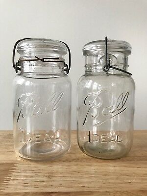 2 Vintage BALL Ideal Canning Jars With Glass Lids