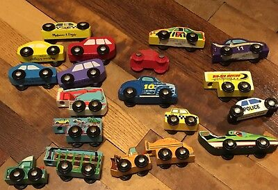 Melissa And Doug Wooden Car Bundle lots of trucks trailers race mixed