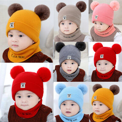 Baby Boys Girls Children Winter Cap Knitted Warm Pom Hat and Scarf Set Hot