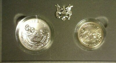 """1991 Silver/clad Unc """"mount Rushmore"""" 2 Coin Set Commemorative Dollar  In Ogp"""