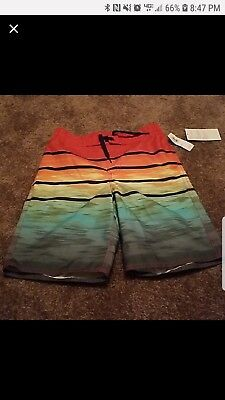Old Navy Swim Trunks Boys Size 8 Striped Board Shorts
